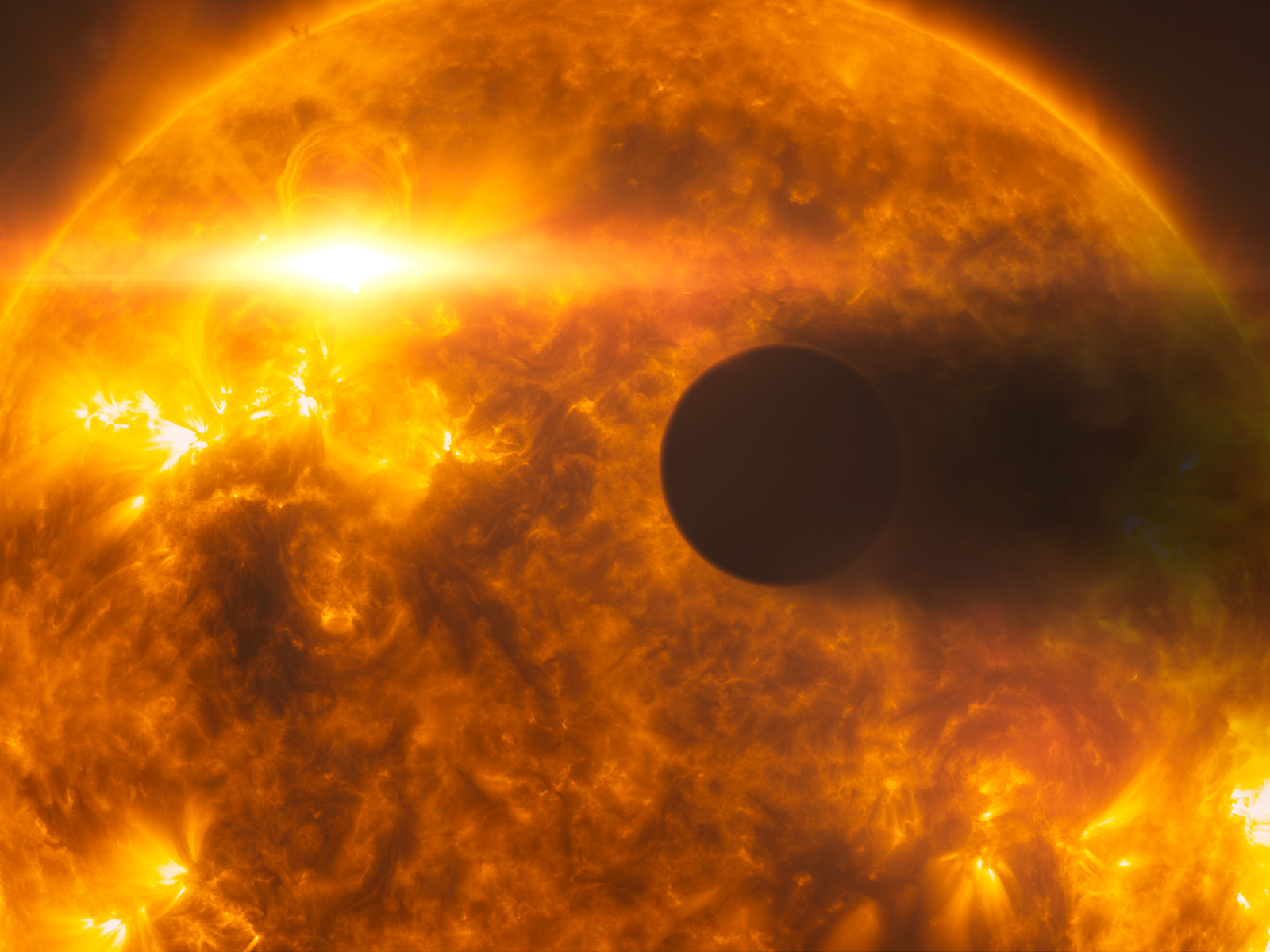 Stellar flare Hits Exoplanet HD 189733b (Artist's Impression)