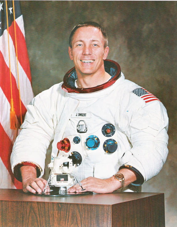 Jack Swigert was a last-minute replacement on the Apollo 13 crew. he later won election to the U.S. House of Representatives but died before taking office.