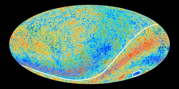 Two Cosmic Microwave Background anomalies hinted at by the Planck observatory's predecessor, NASA's WMAP, are confirmed in new high-precision data revealed on March 21, 2013. In this image, the two anomalous regions have been enhanced with red and blue shading to make them more clearly visible.