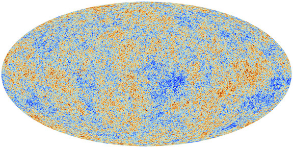 This image unveiled March 21, 2013, shows the cosmic microwave background (CMB) as observed by the European Space Agency's Planck space observatory. The CMB is a snapshot of the oldest light in our Universe, imprinted on the sky when the Universe was just 380 000 years old. It shows tiny temperature fluctuations that correspond to regions of slightly different densities, representing the seeds of all future structure: the stars and galaxies of today.