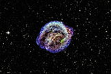 This is the remnant of Kepler's supernova, the famous explosion that was discovered by Johannes Kepler in 1604. The red, green and blue colors show low, intermediate and high energy X-rays observed with NASA's Chandra X-ray Observatory, and the star field is from the Digitized Sky Survey. Image released March 18, 2013