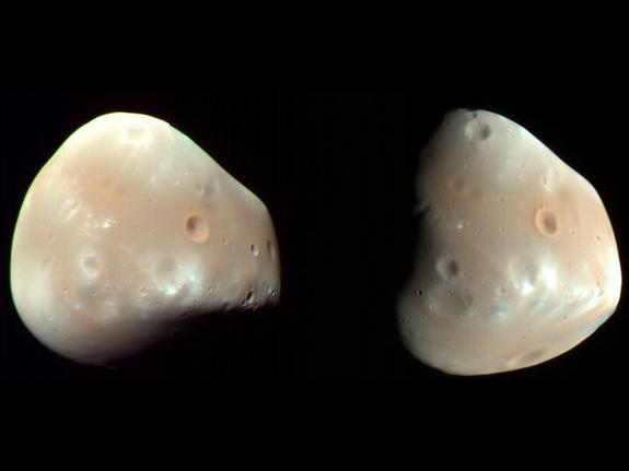 Images captured by NASA's Mars Reconnaissance Orbiter, reveal that the surface of Deimos is mostly smoooth, marred only by recent impact craters.