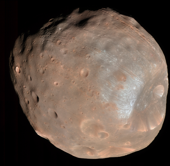 NASA's Mars Reconnaissance Orbiter took this image of the larger of Mars' two moons, Phobos, from a distance of about 6,800 km (about 4,200 miles).