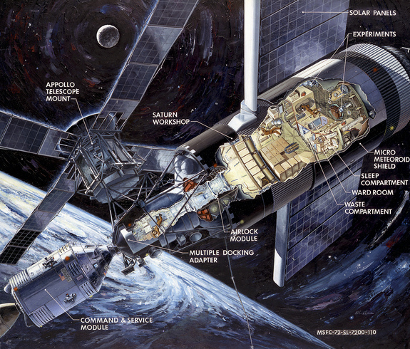 This illustration of Skylab shows the Apollo capsule, which was launched on a Saturn 1B rocket to ferry crews to space, docked to the multiple docking adapter, which was designed and built at NASA's Marshall Space Flight Center in Huntsville, Ala.