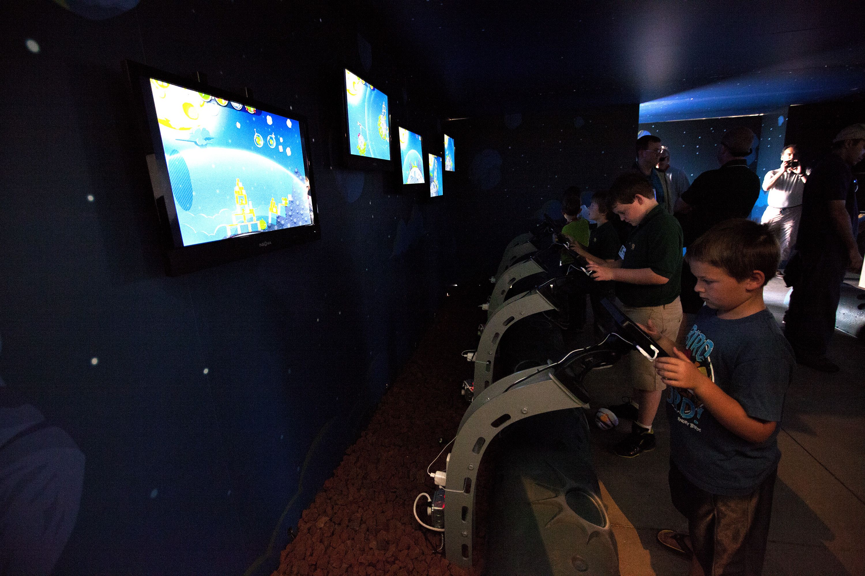 Children Try Angry Birds Space Encounter at Exhibit
