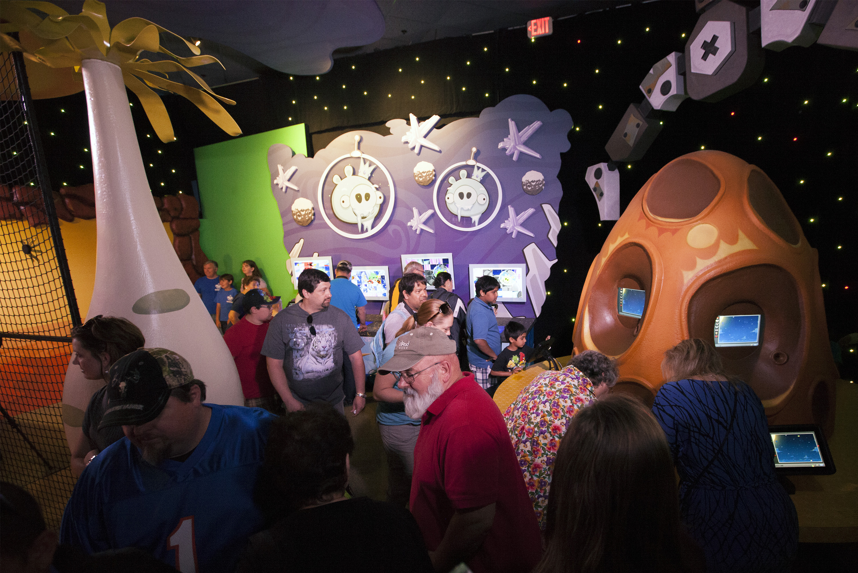 Visitors Try Out Angry Birds Space Encounter Exhibit