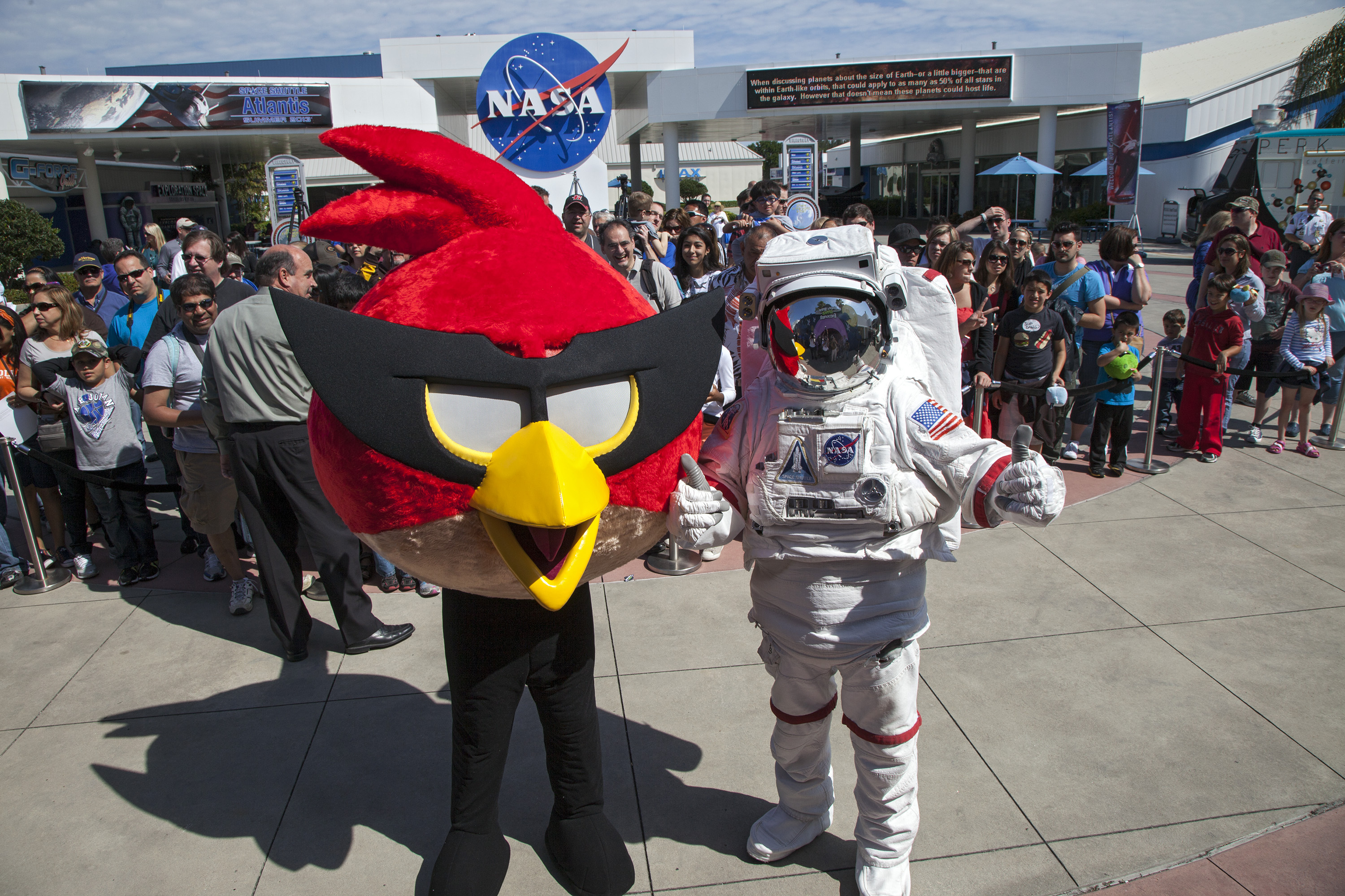 Spaceperson and Red Bird Welcome Visitors to Angry Birds Space Encounter