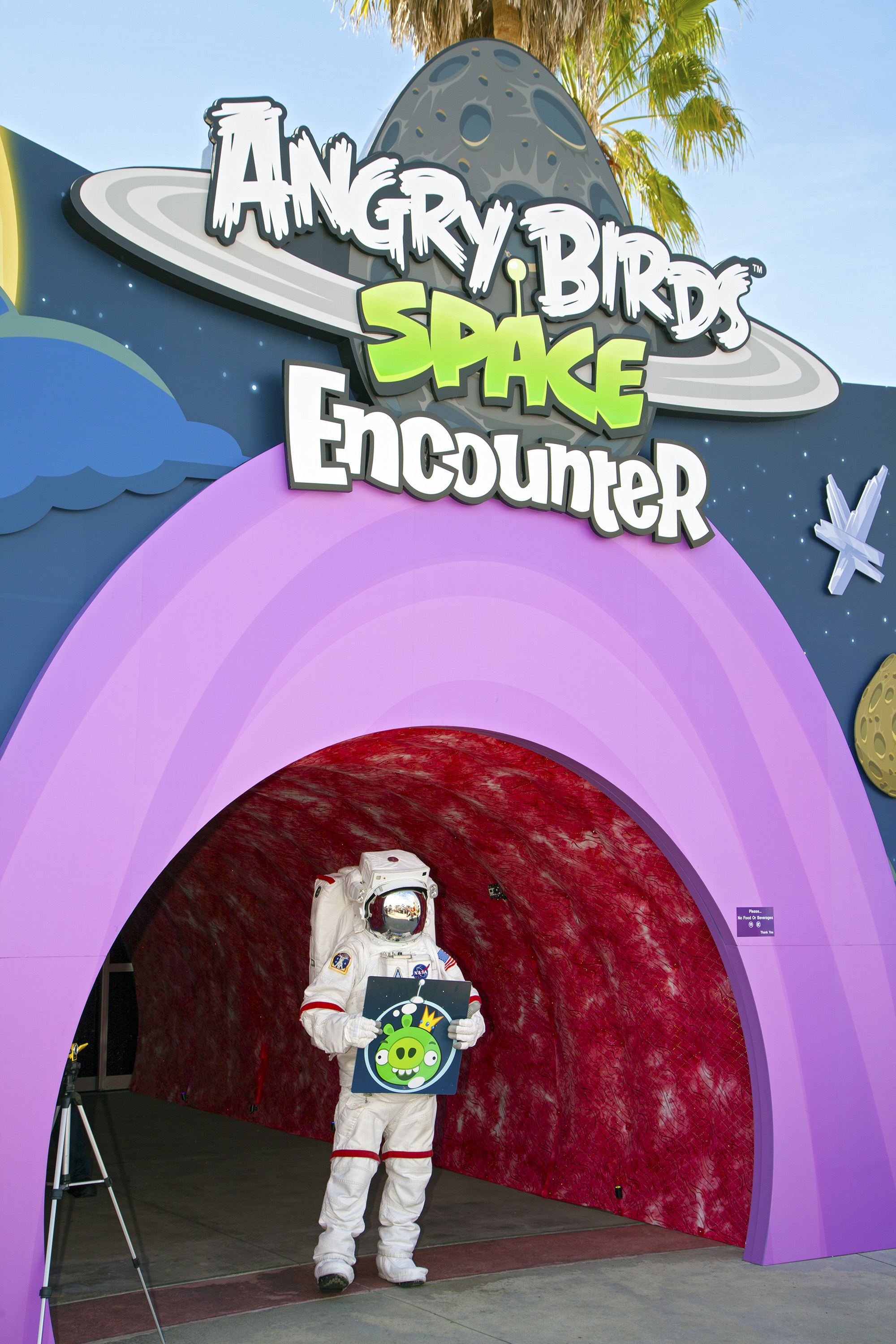 Spaceperson at Entrance to Angry Birds Space Encounter Exhibit