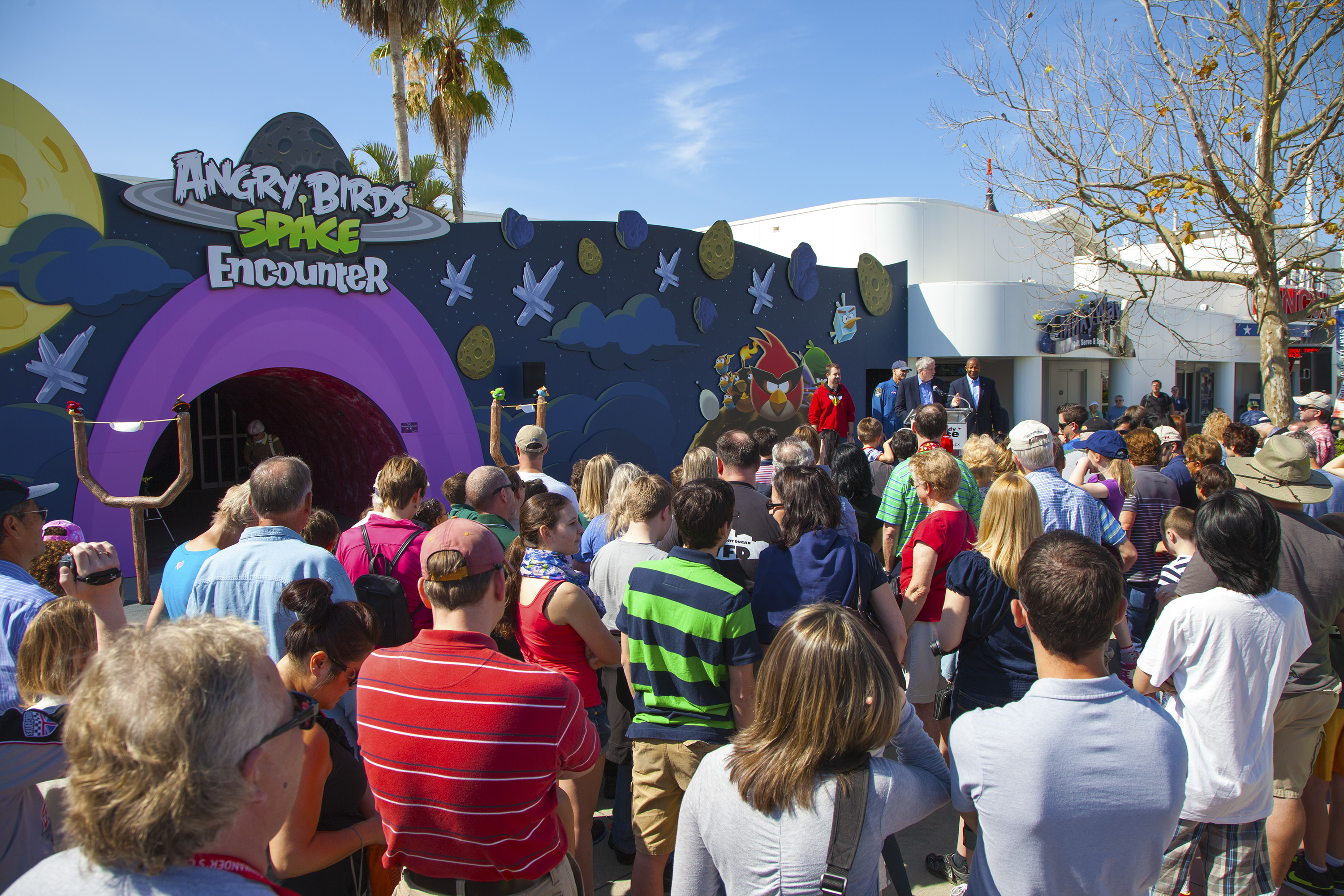 Crowds Gather at Angry Birds Space Exhibit Opening