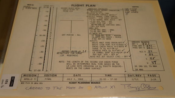Bonhams Auction House sold more than 300 space artifacts on March 25, 2013. Pieces from the Apollo missions (including 13 and 11) were sold, as well as other items from the space program's history, including a flight plan from the Apollo 11 moon mission, seen here.