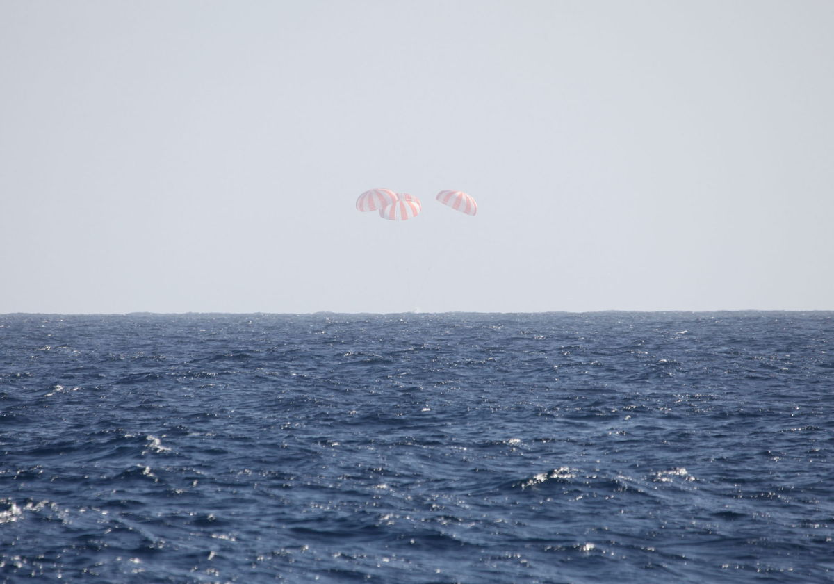 Splashdown of Dragon Cargo Capsule
