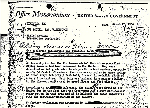 UFO Memo Is FBI's 'Most Wanted' Record