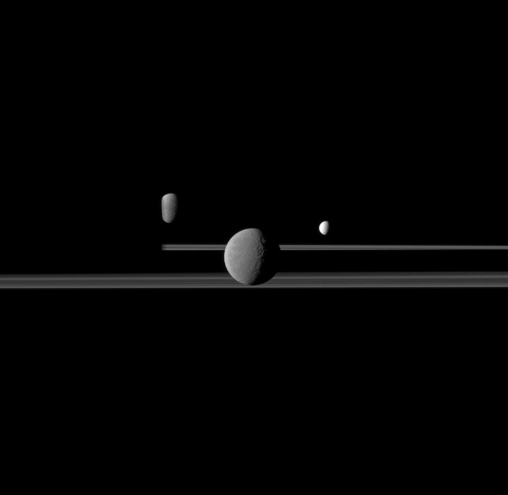 Three Moons of Saturn