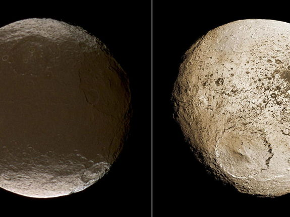 These two global images of Iapetus show the extreme brightness dichotomy on the surface of this peculiar Saturnian moon. The left-hand panel shows the moon's leading hemisphere and the right-hand panel shows the moon's trailing side. Image published Dec. 10, 2009.