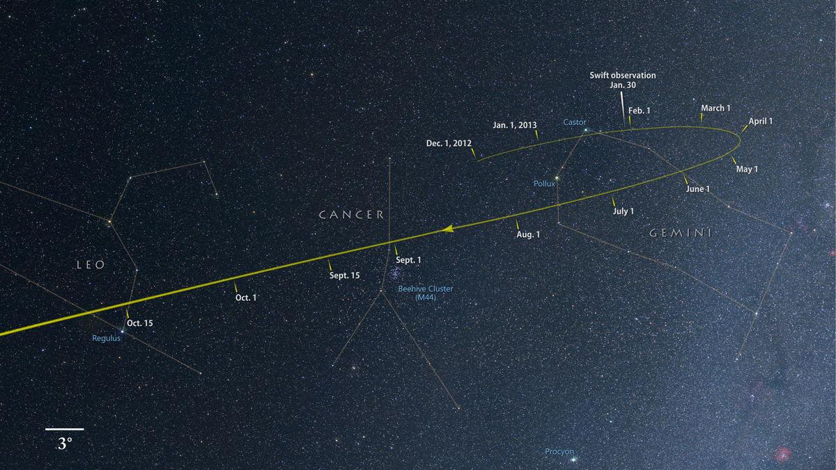 Comet ISON Sky Map