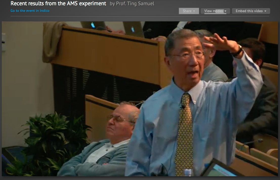 Nobel Laureate Samuel Ting Presents AMS First Result