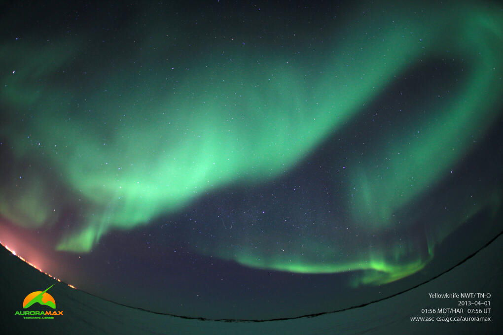 Aurora Over Yellowknife, Canada, April 1, 2013