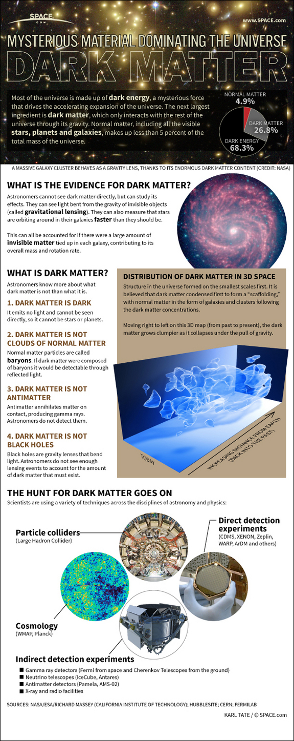Find out about what is known about the mysterious dark matter that fills the universe in this SPACE.com Infographic.