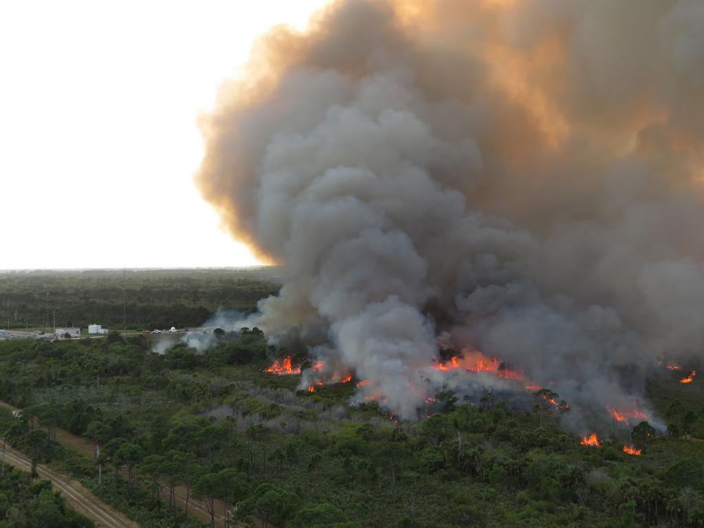 Wildfire Blazes Near NASA's Kennedy Space Center