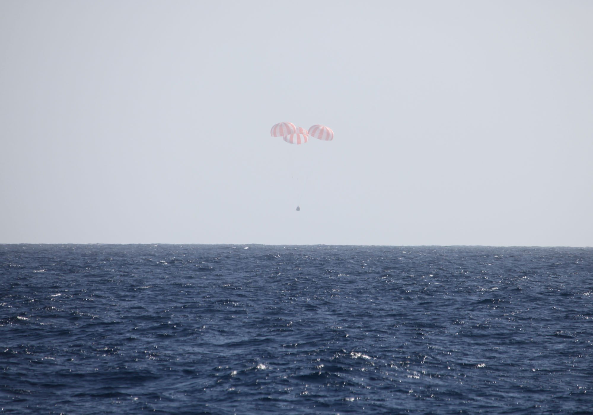 Parachutes Slow Down Dragon Capsule