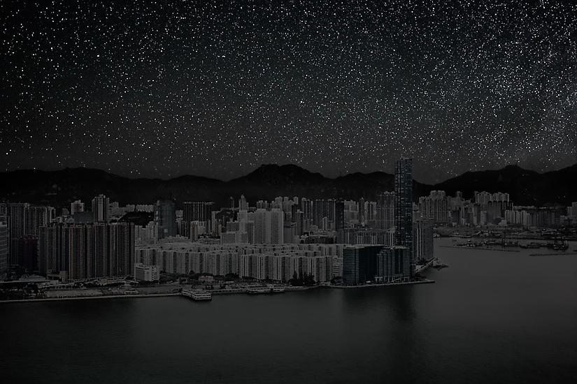 Hong Kong on Water by Night, Darkened Cities