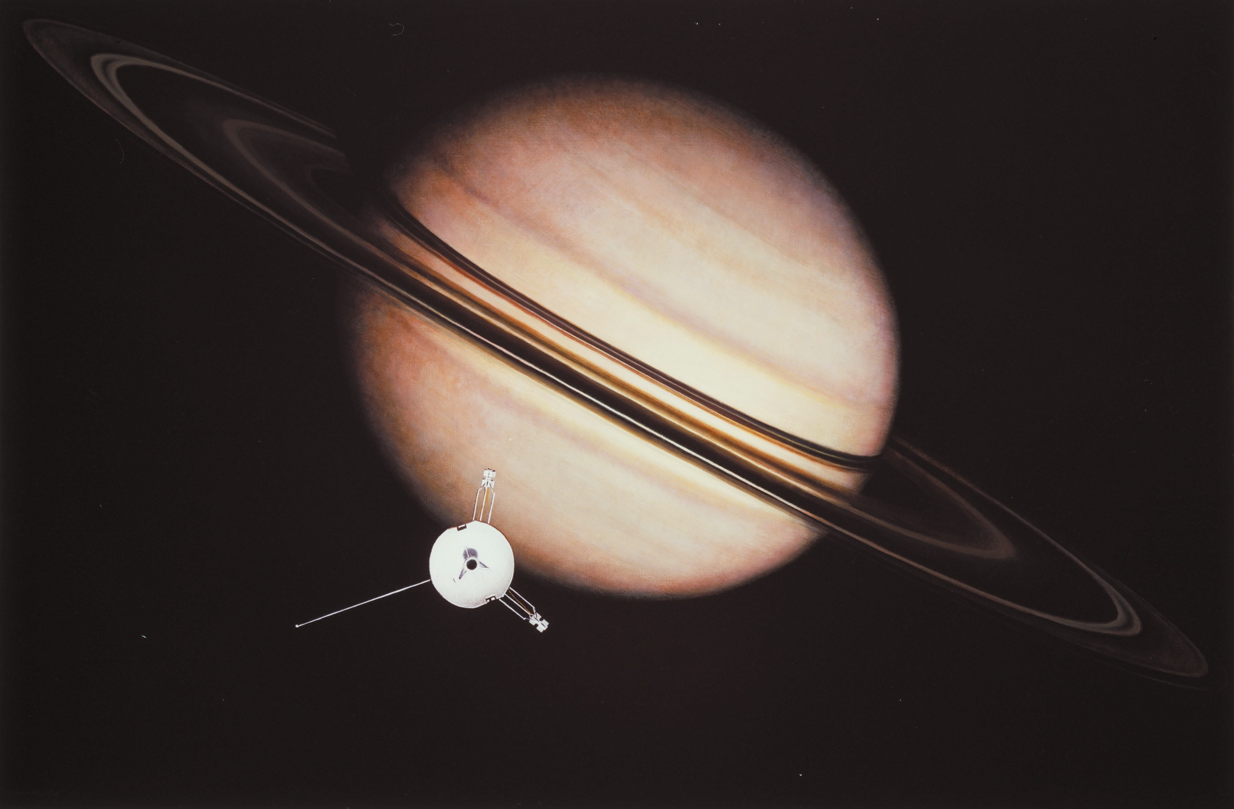 Pioneer 11 at Saturn: Artist's View