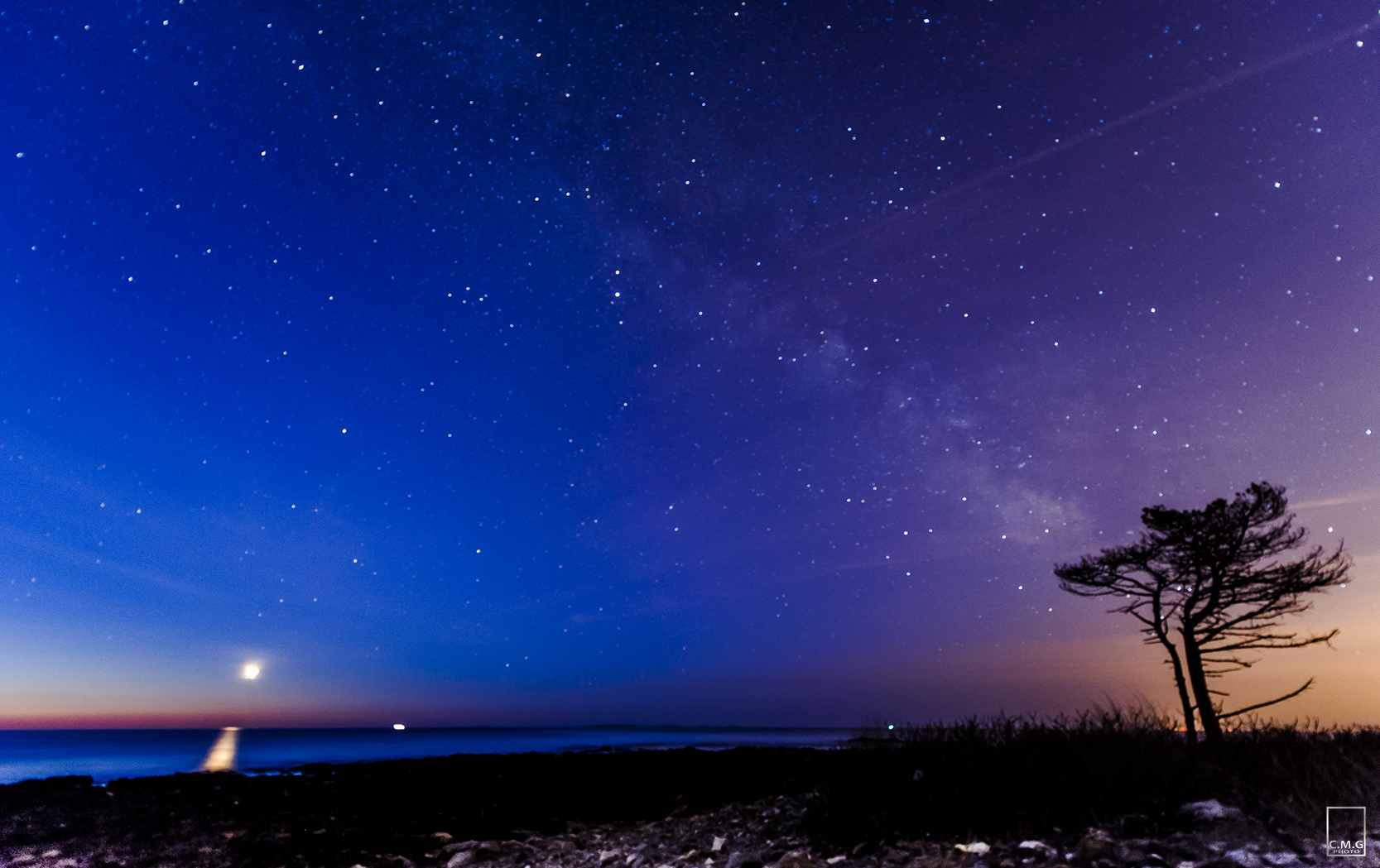Milky Way and Moon Rise from New Hampshire Coast