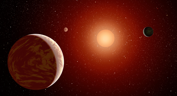 A planet's habitability depends on much more than just its distance from its host star.  This artist's concept illustrates a young, red dwarf star surrounded by three planets. Such stars are dimmer and smaller than yellow stars like our sun.