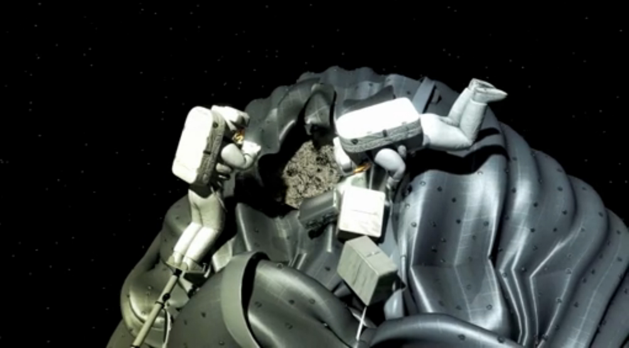 Two Astronauts on Spacewalk During Asteroid Capture Mission