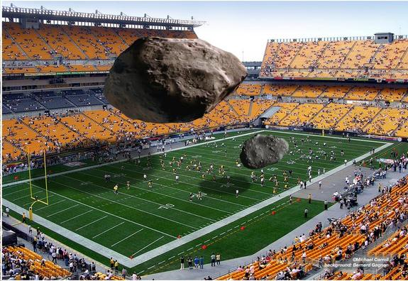 Illustration of relative size for DA14 and Chelyabinsk Meteor compared to a footbal field.