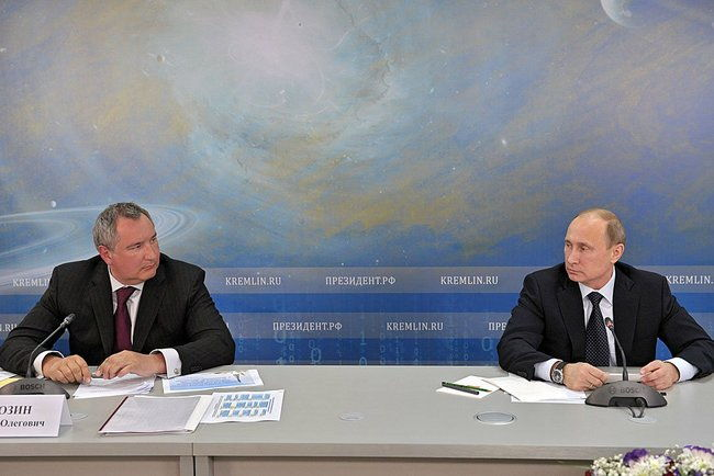 Putin and Rogozin at Space Sector Meeting