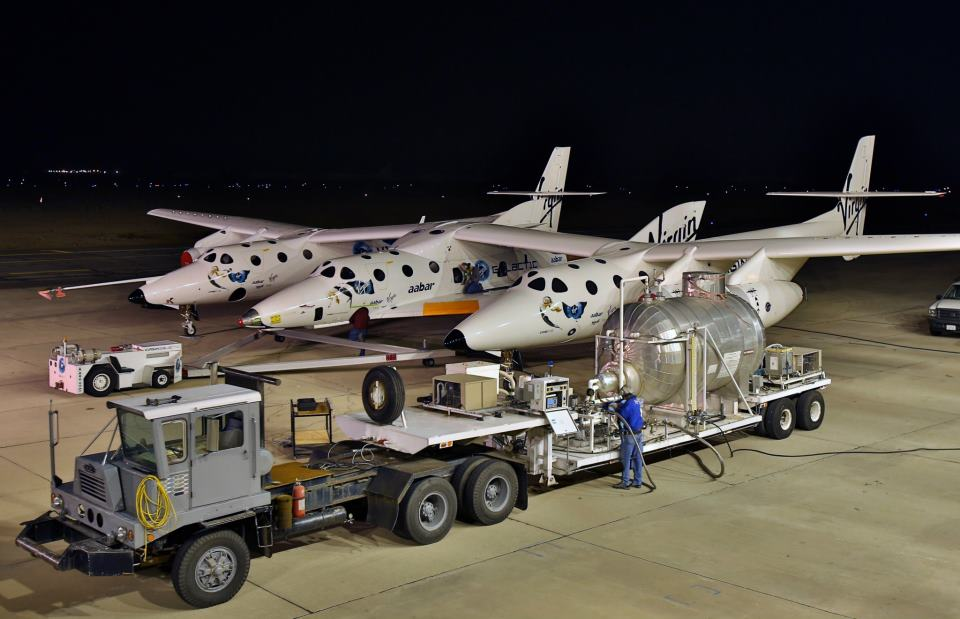 Ground Crews Prep SpaceShipTwo