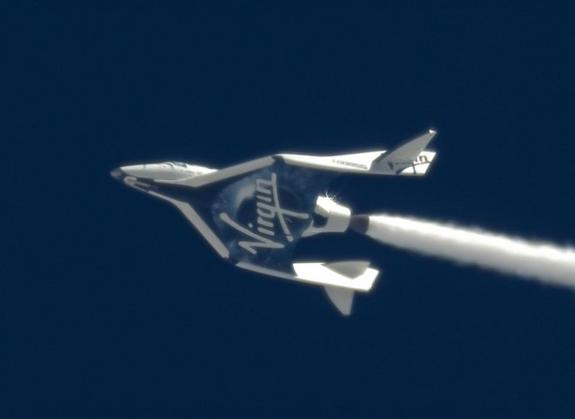 For the first time ever, oxidizer flows through SpaceShipTwo's rocket nozzle in flight, successfully demonstrating key components of the system. The April 12, 2013 test flight was a key milestone in advance of SpaceShipTwo's first rocket powered flight.