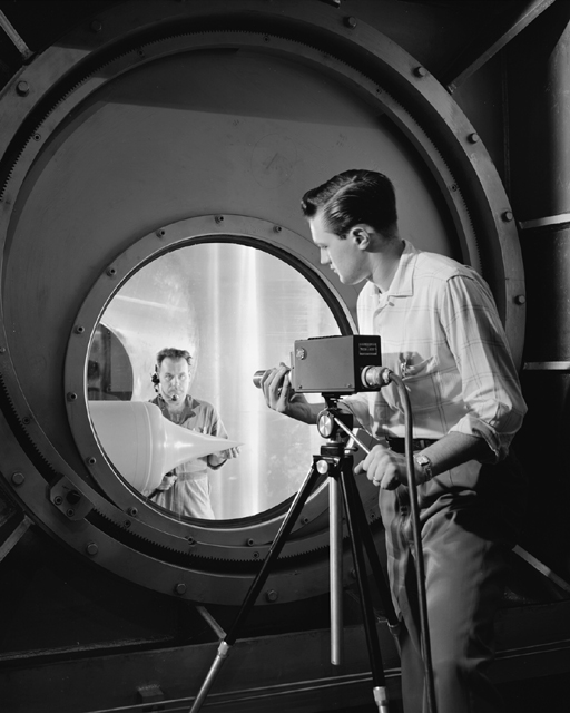 Space History Photo: Technician Setting up RCA Television Camera