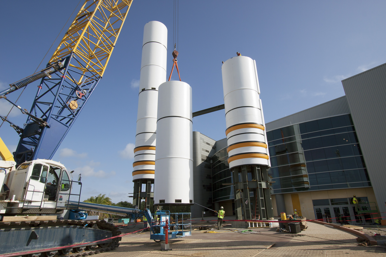 Replica Rocket Boosters Rise Over Space Shuttle Atlantis Exhibit