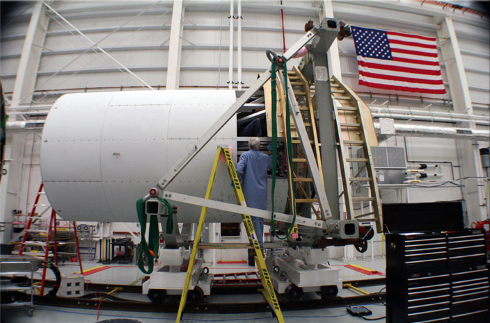 Engineer Works on Antares Cygnus Mass Simulator