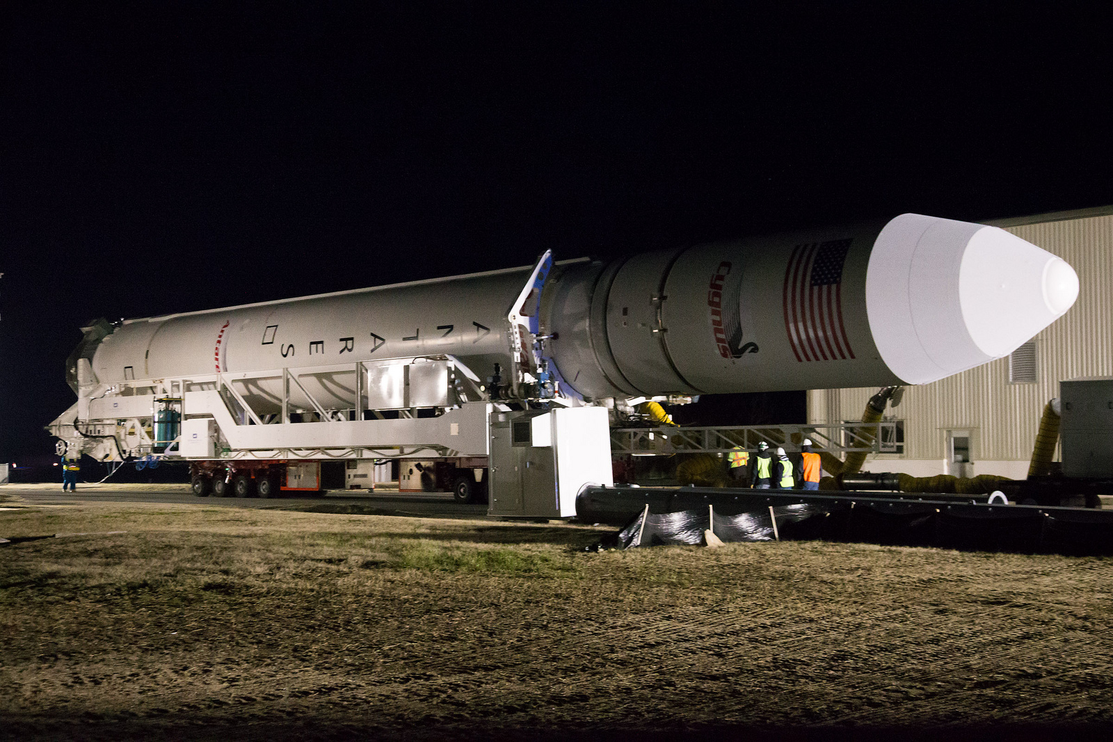 Antares Rocket Rolls Out to Spaceport Pad