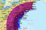 This map by Orbital Sciences Corp. shows the launch visibility possibilities for Orbital's Antares rocket on April 20, 2013. The rocket will launch from NASA's Wallops Flight Facility on Wallops Island, Va.