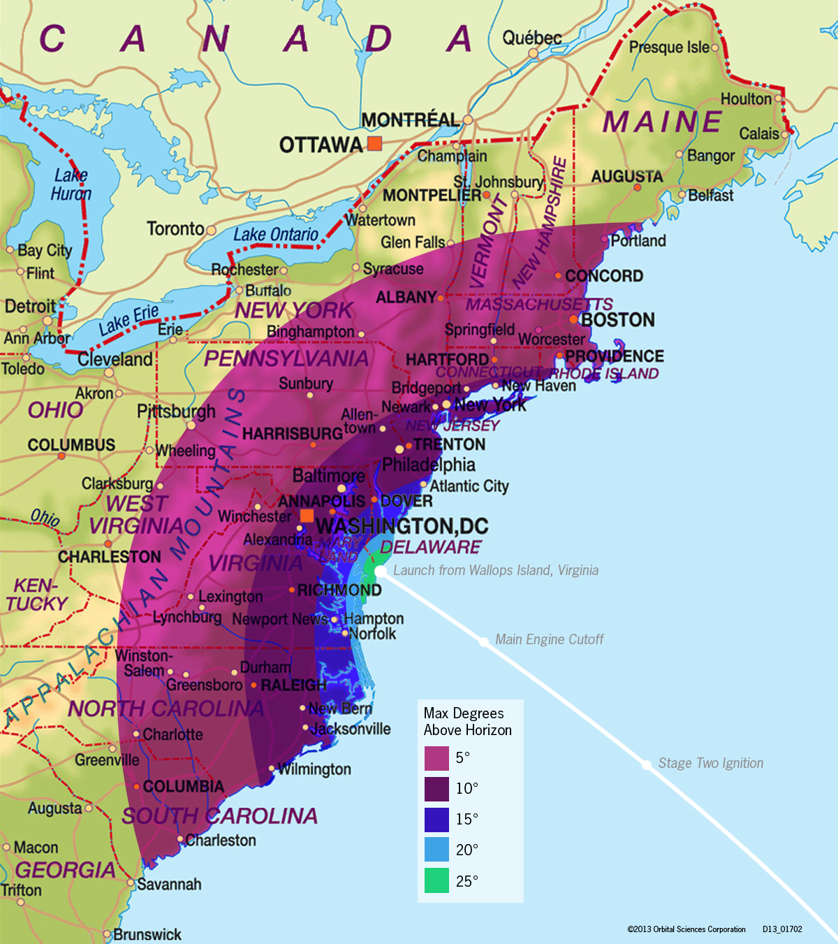 Antares Rocket Launch Viewing Map