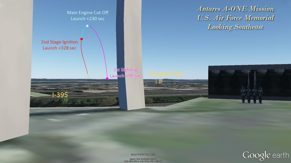 Viewing Antares Rocket Launch From Air Force Memorial