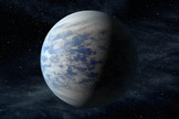 The artist's concept depicts Kepler-69c, a planet 1.7 times the size of Earth that orbits in the habitable zone of a star like our sun, located about 2,700 light-years from Earth in the constellation Cygnus.