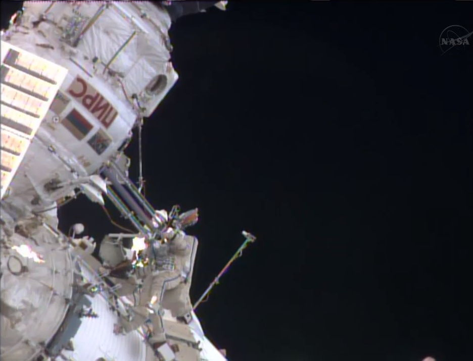 Russian Spacewalk Outside ISS on April 19, 2013