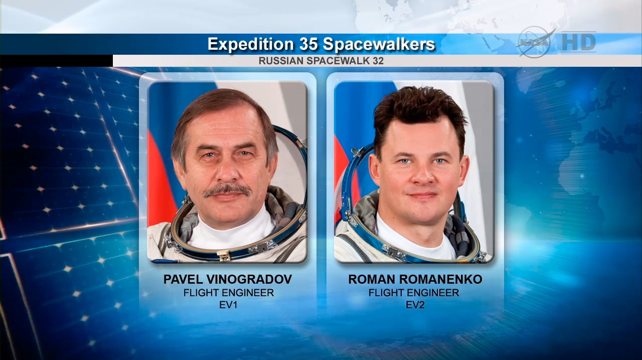 Vinogradov and Romanenko, Expedition 35 Spacewalkers