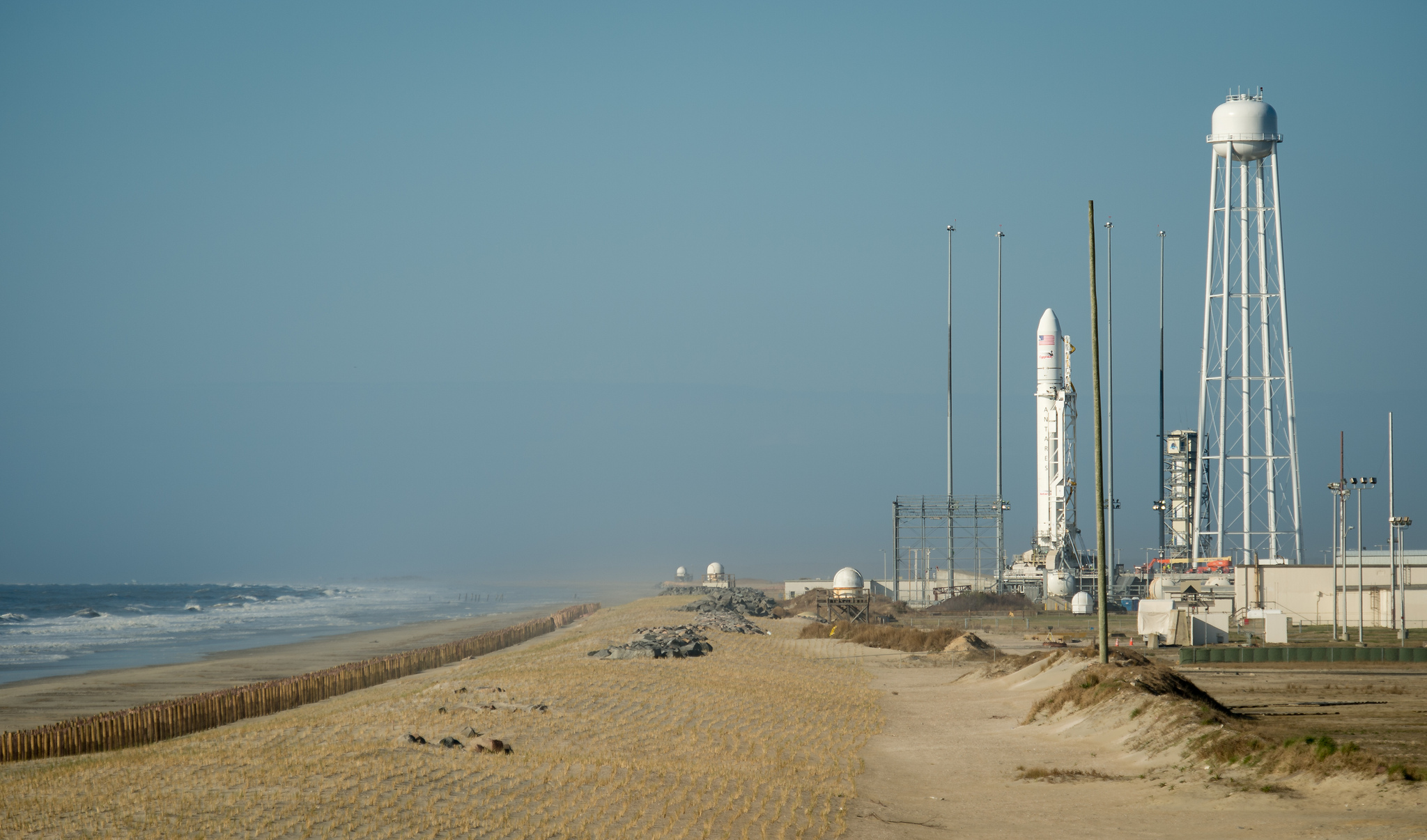 Antares Rocket Atop Seaside Launch Pad