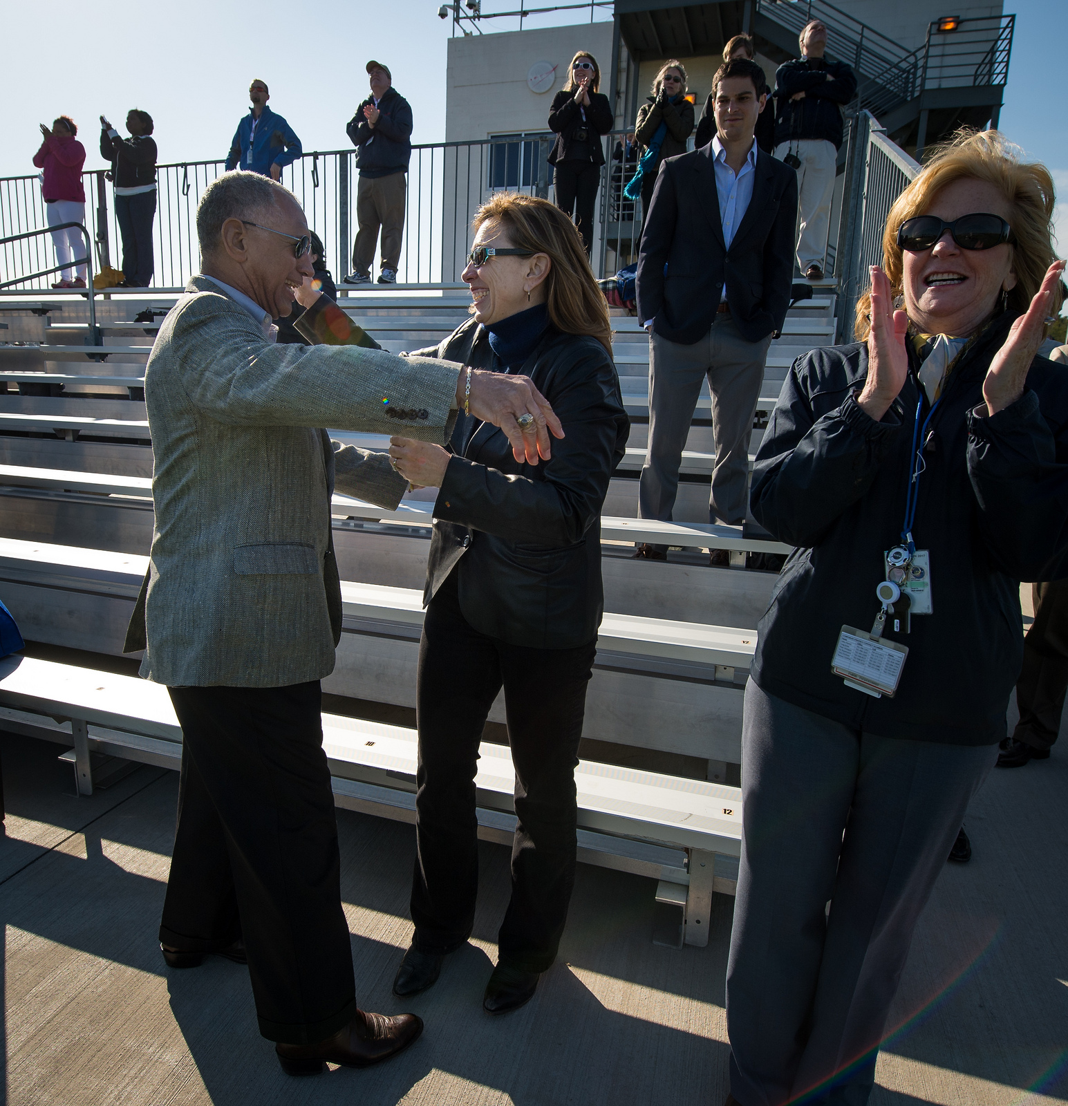 Bolden and Garver Celebrate After Antares Liftoff