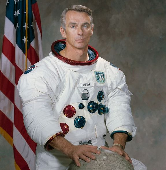 Eugene Cernan, the last Apollo astronaut to walk on the moon, left something behind: his daughter's initials in the dust.