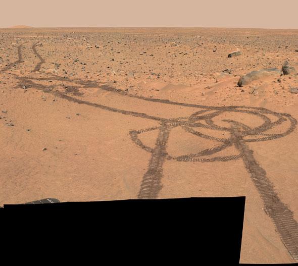 Mars Rover Spirit's 'Phallic' Tracks
