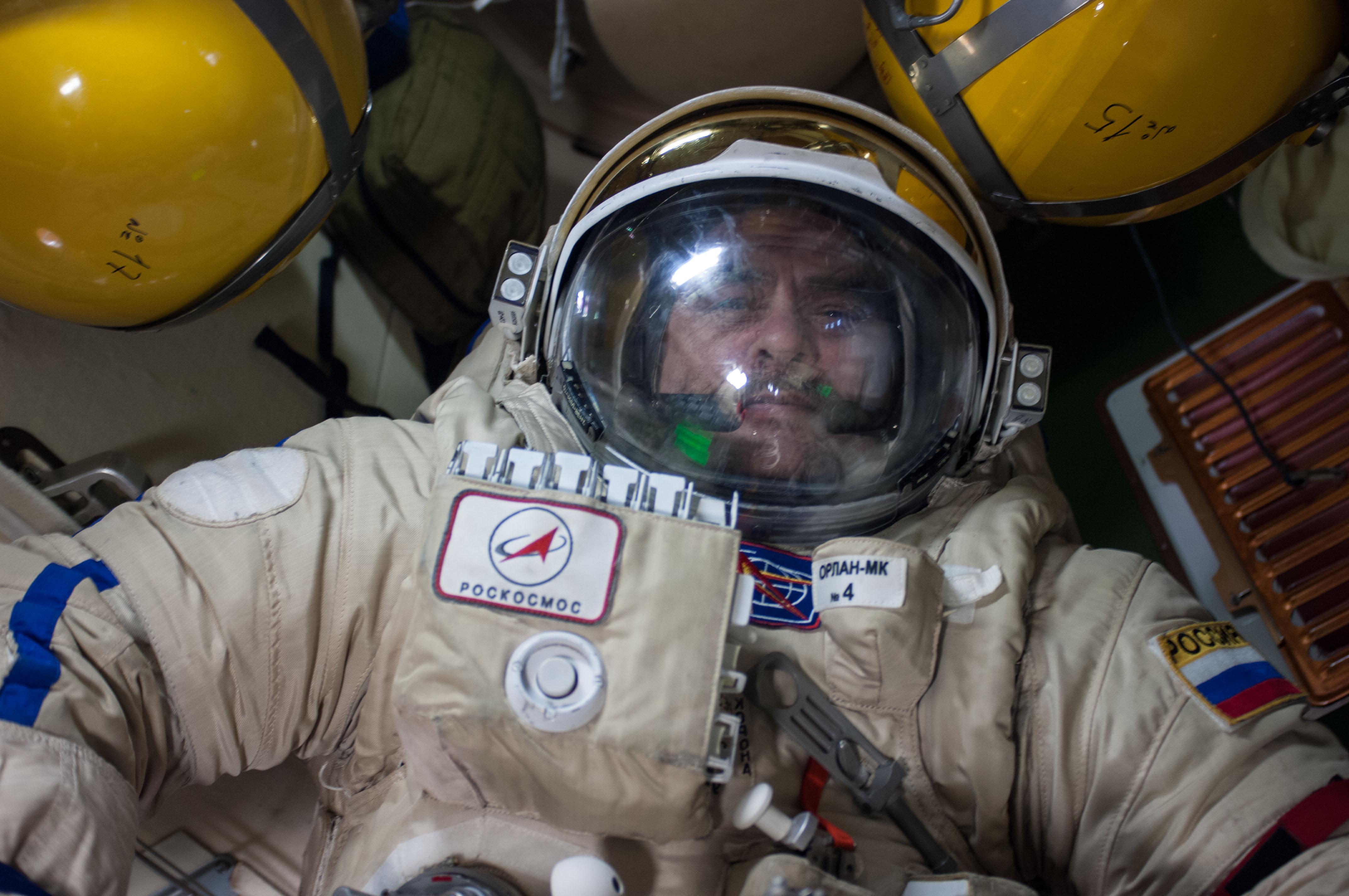 Russian cosmonaut Pavel Vinogradov in Spacesuit