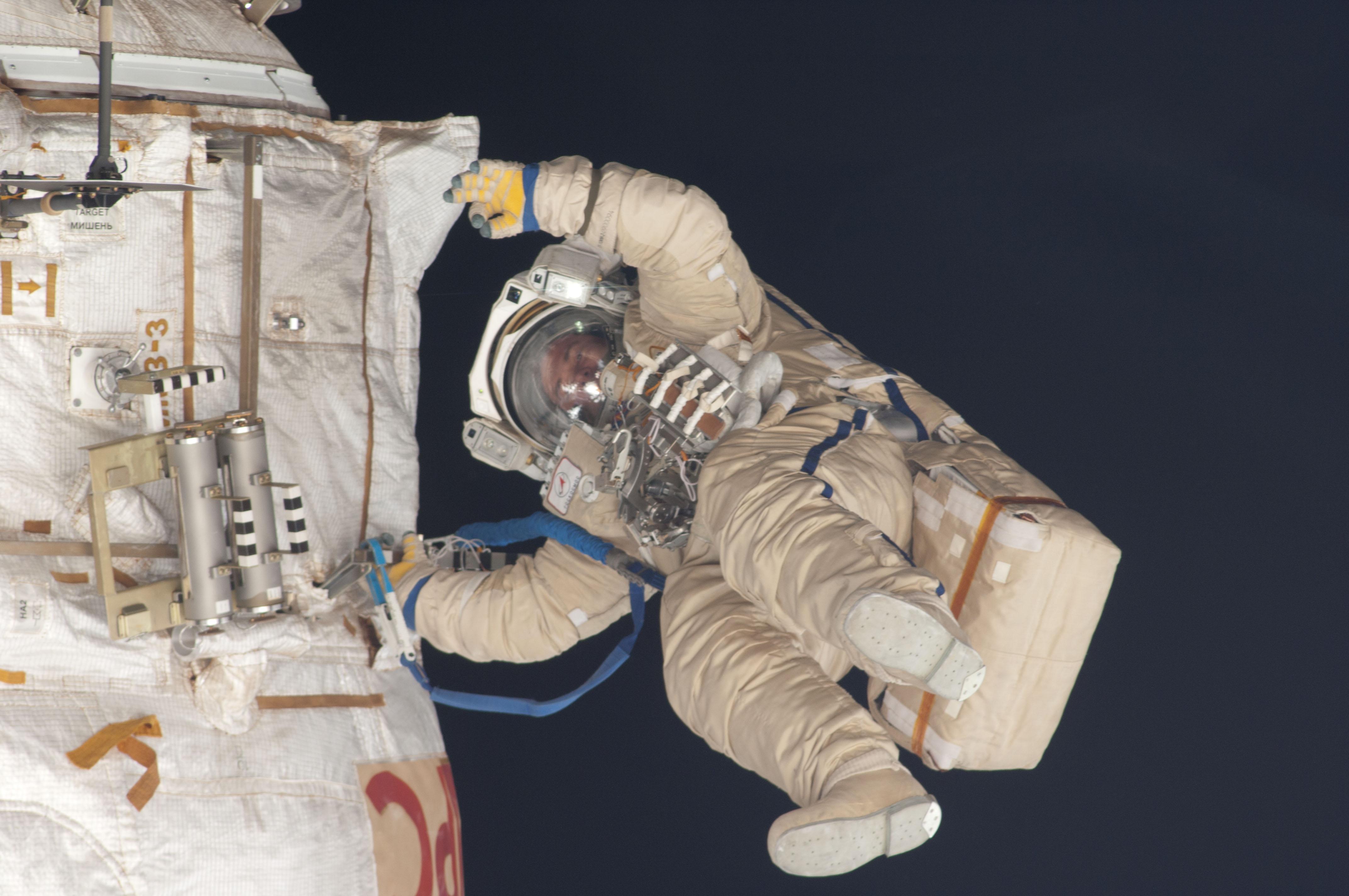 Russian cosmonaut Roman Romanenko on Spacewalk
