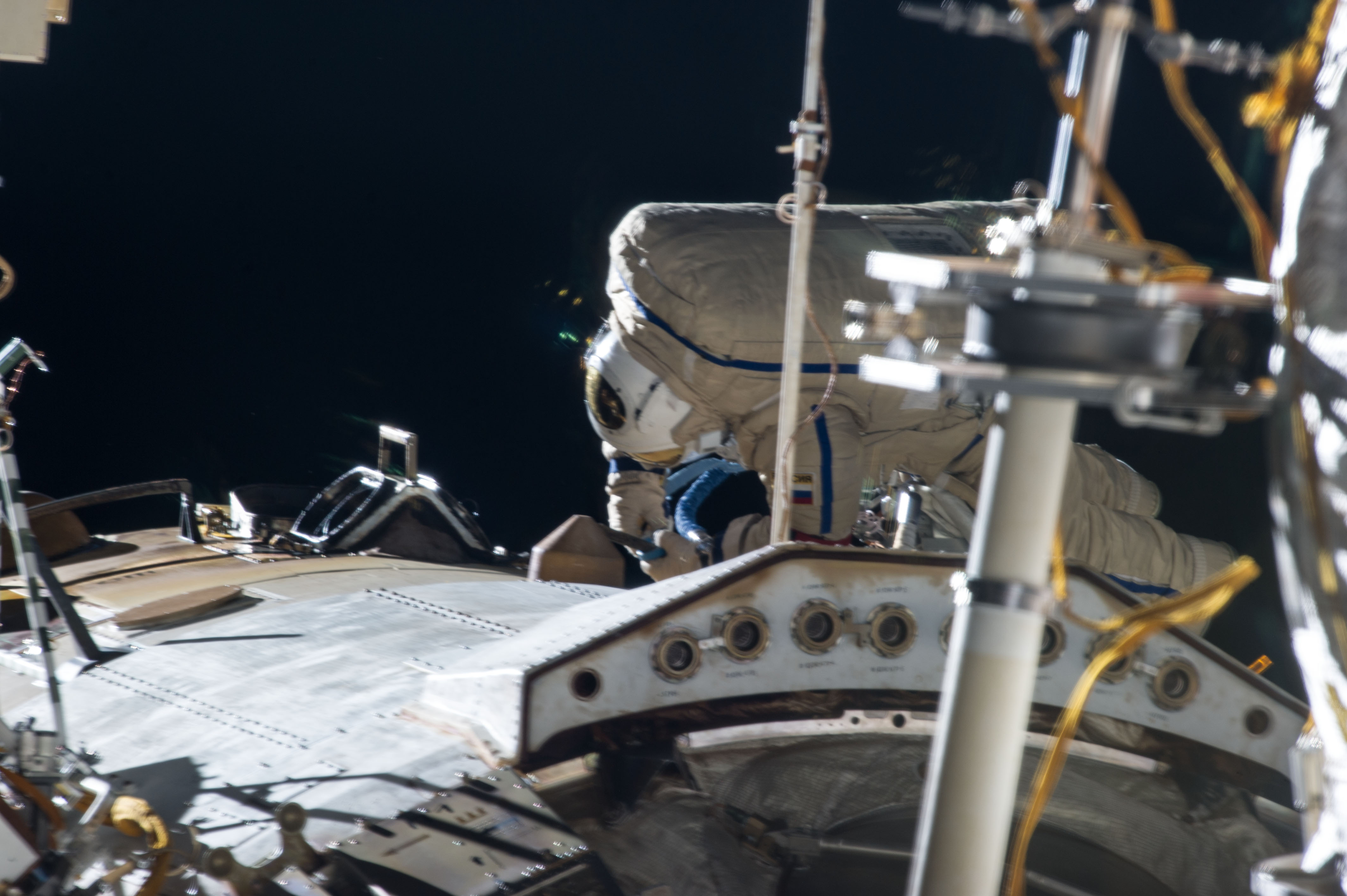Russian Cosmonauts Work on the ISS